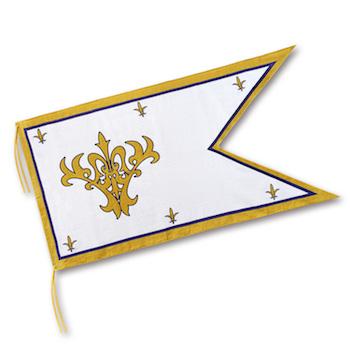 ルーラーが持つ旗を忠実に再現した大判のバスタオル