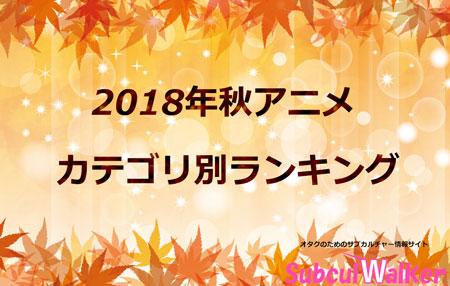 【2018秋アニメ】カテゴリ別ランキングが発表!今期評価の高い作品とは?