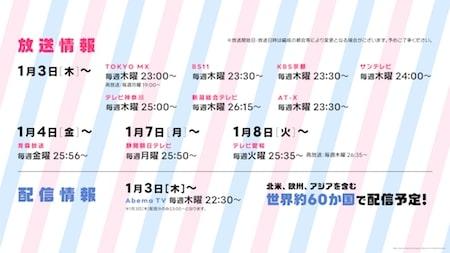 アニメ第2期「バンドリ」の放送日&放送局 一覧