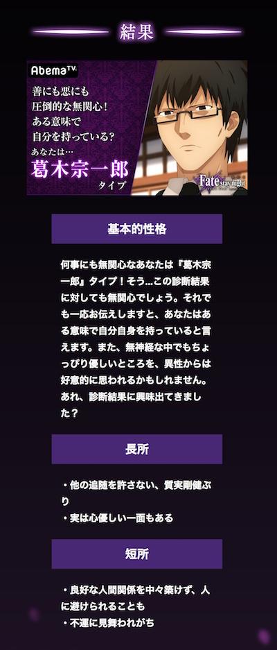 Fate/stay night [HF] キャラクター診断の結果