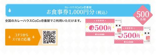 カレーハウスCoCo壱番屋お食事券1,000円分(税込)